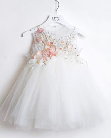 White Silver Baby Birthday Dress-03